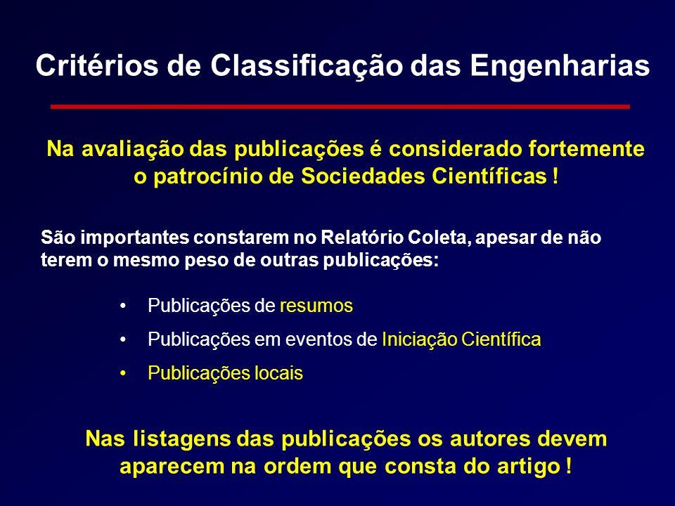 Critérios de Classificação das Engenharias