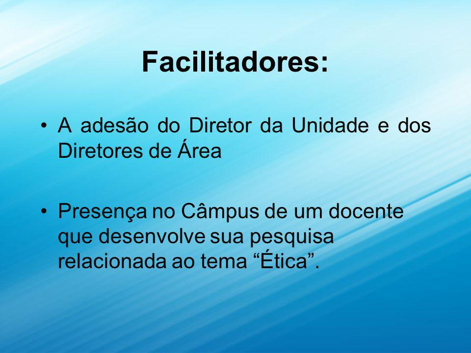 Facilitadores: A adesão do Diretor da Unidade e dos Diretores de Área