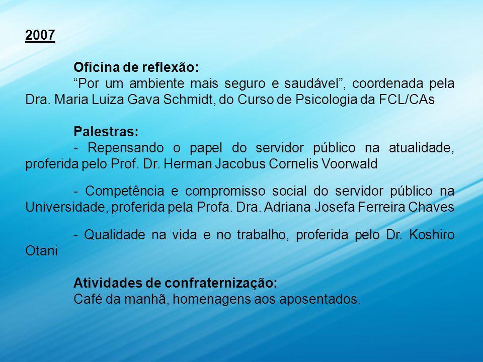 2007 Oficina de reflexão: Por um ambiente mais seguro e saudável , coordenada pela Dra. Maria Luiza Gava Schmidt, do Curso de Psicologia da FCL/CAs.