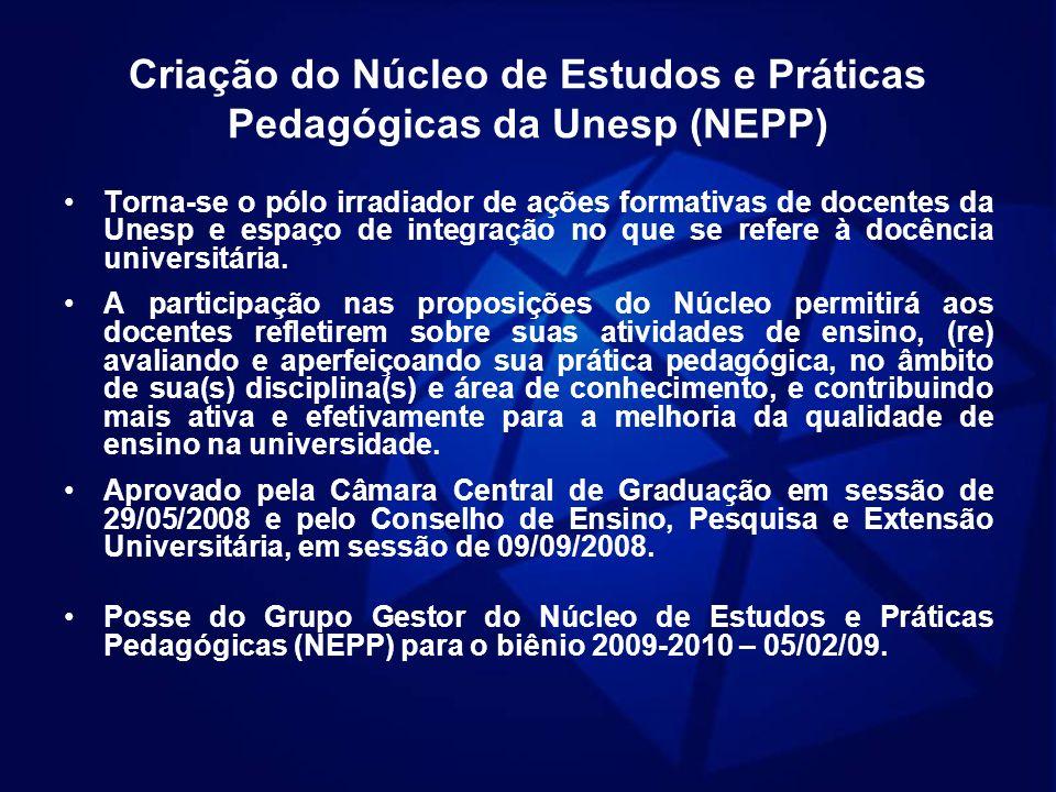 Criação do Núcleo de Estudos e Práticas Pedagógicas da Unesp (NEPP)