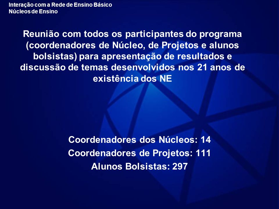 Coordenadores dos Núcleos: 14 Coordenadores de Projetos: 111