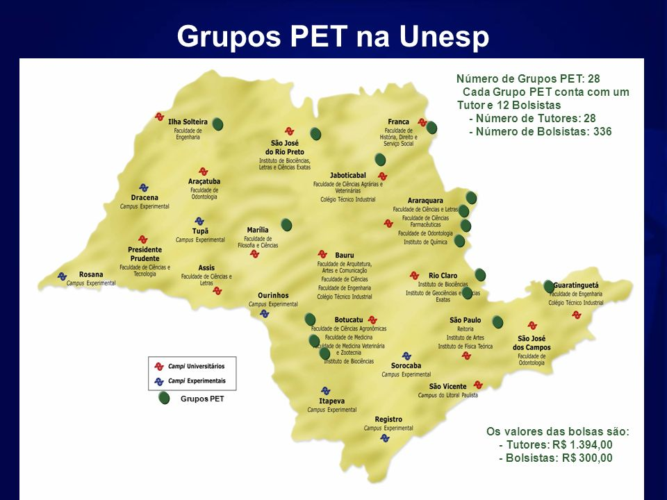 Grupos PET na Unesp Número de Grupos PET: 28
