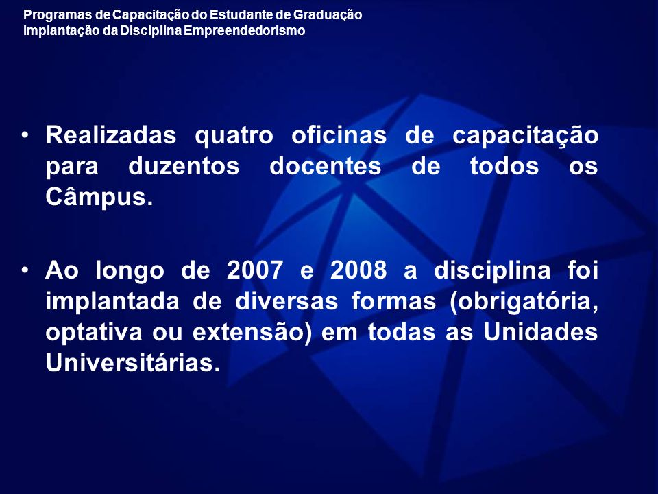Programas de Capacitação do Estudante de Graduação Implantação da Disciplina Empreendedorismo