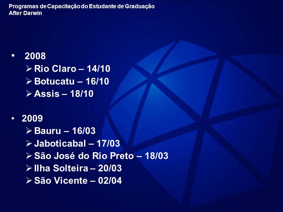 2008 Rio Claro – 14/10 Botucatu – 16/10 Assis – 18/10 2009
