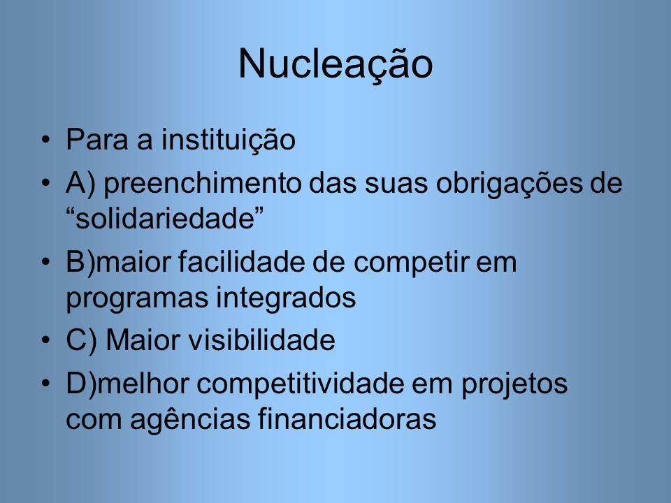 Nucleação Para a instituição