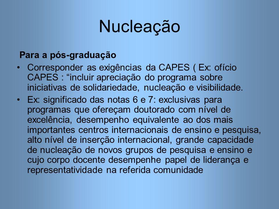 Nucleação Para a pós-graduação