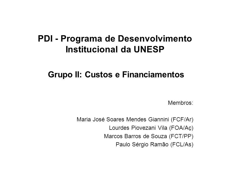 PDI - Programa de Desenvolvimento Institucional da UNESP Grupo II: Custos e Financiamentos