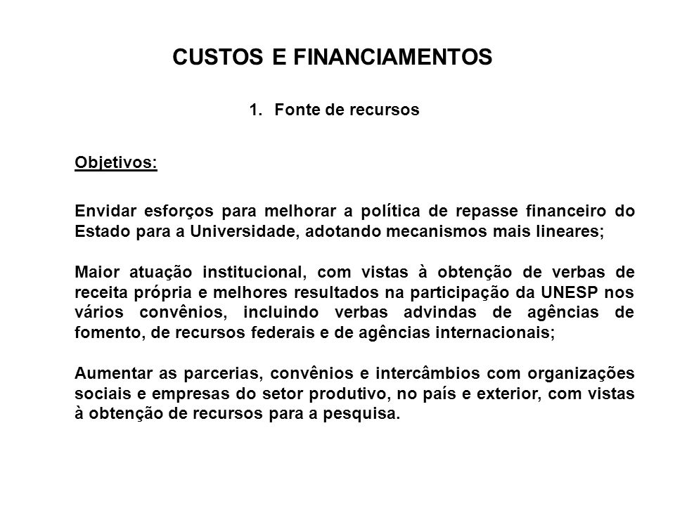 CUSTOS E FINANCIAMENTOS