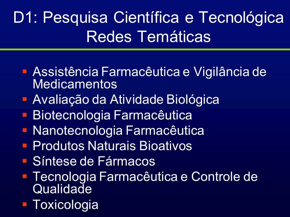 D1: Pesquisa Científica e Tecnológica Redes Temáticas
