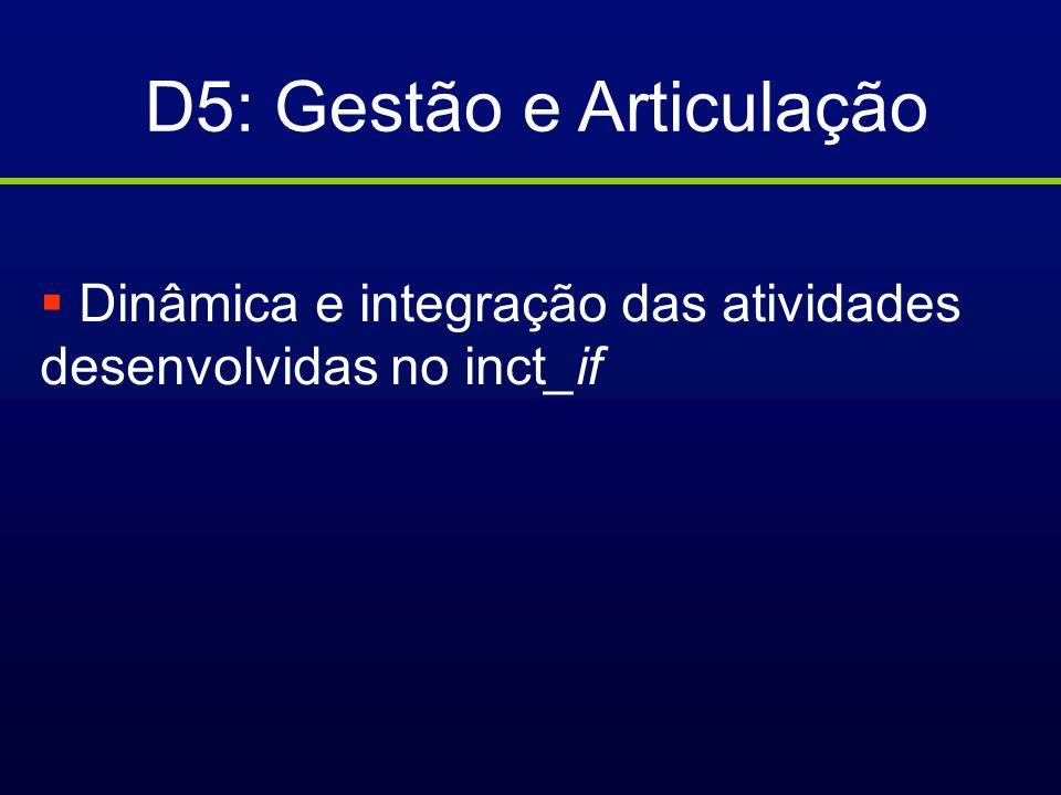 D5: Gestão e Articulação
