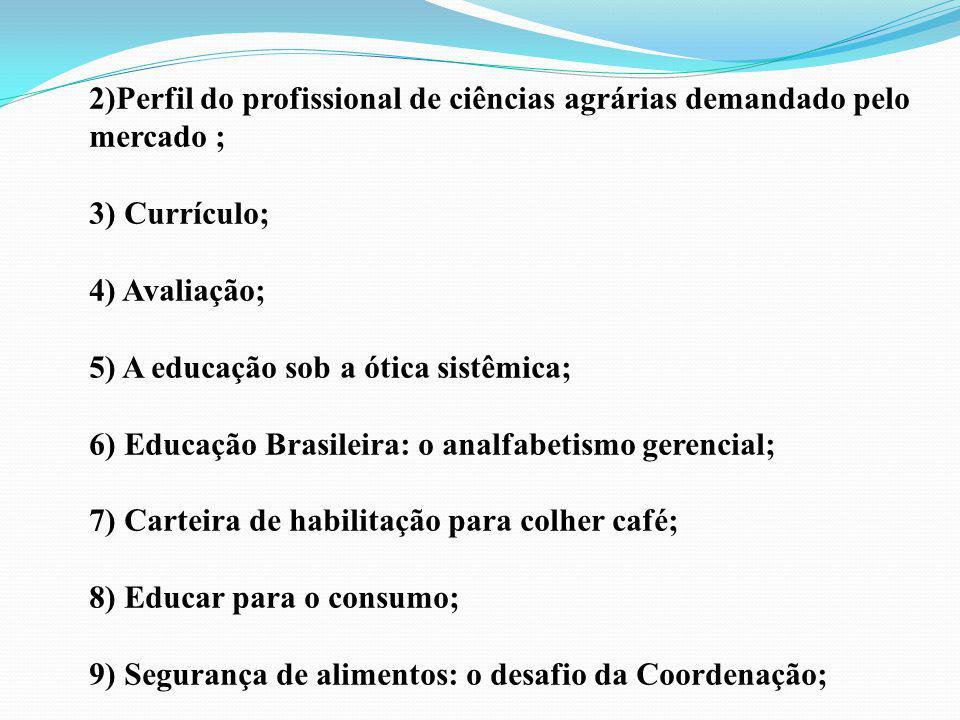 2)Perfil do profissional de ciências agrárias demandado pelo mercado ;