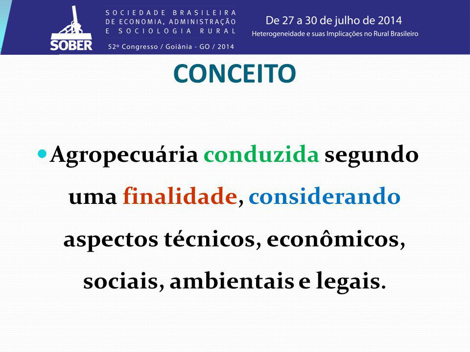 CONCEITO Agropecuária conduzida segundo uma finalidade, considerando aspectos técnicos, econômicos, sociais, ambientais e legais.