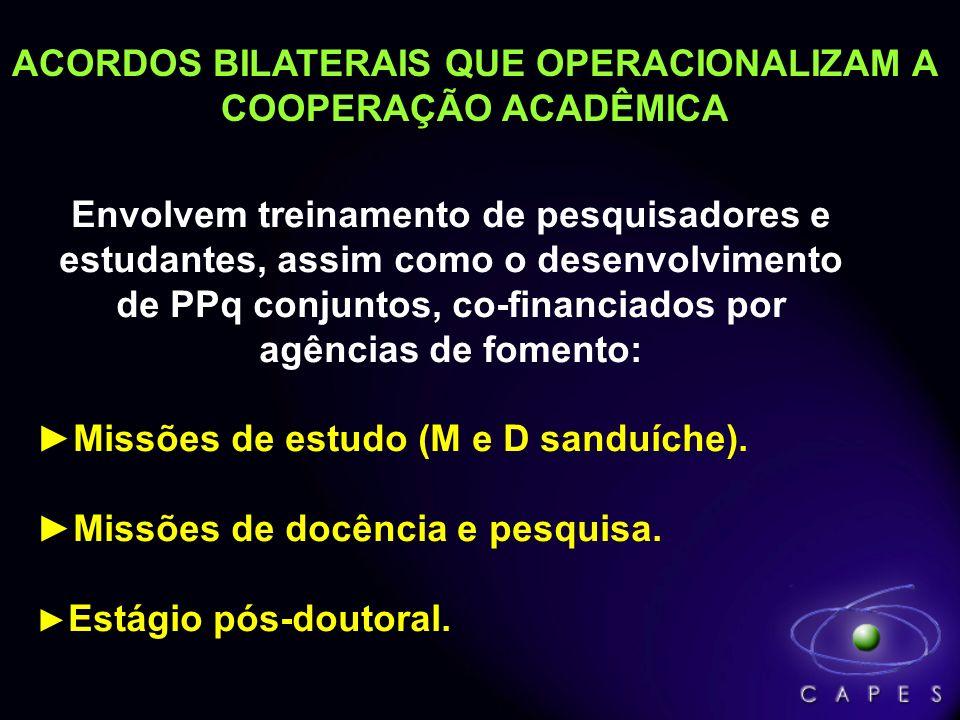 ACORDOS BILATERAIS QUE OPERACIONALIZAM A COOPERAÇÃO ACADÊMICA