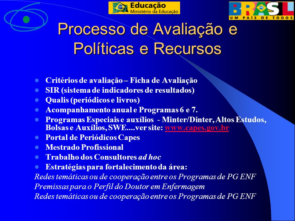 Processo de Avaliação e Políticas e Recursos