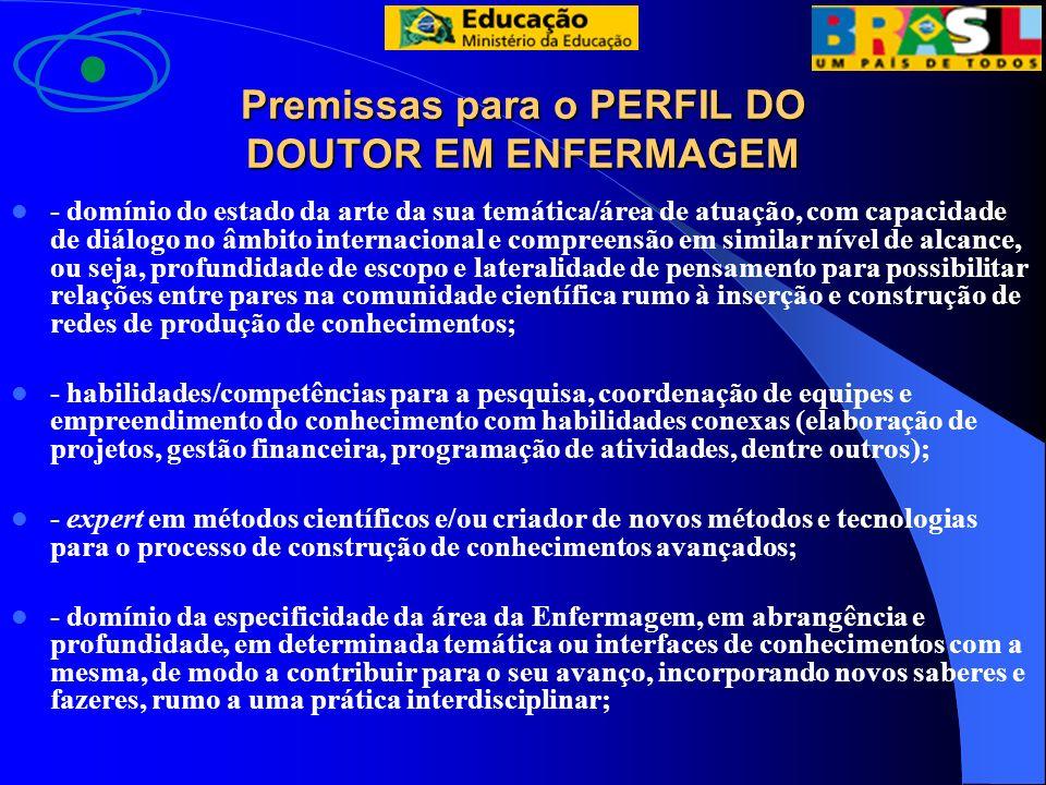 Premissas para o PERFIL DO DOUTOR EM ENFERMAGEM