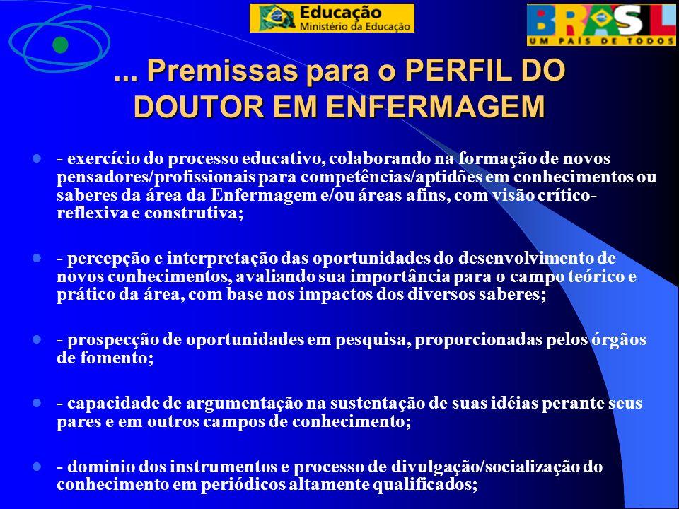 ... Premissas para o PERFIL DO DOUTOR EM ENFERMAGEM
