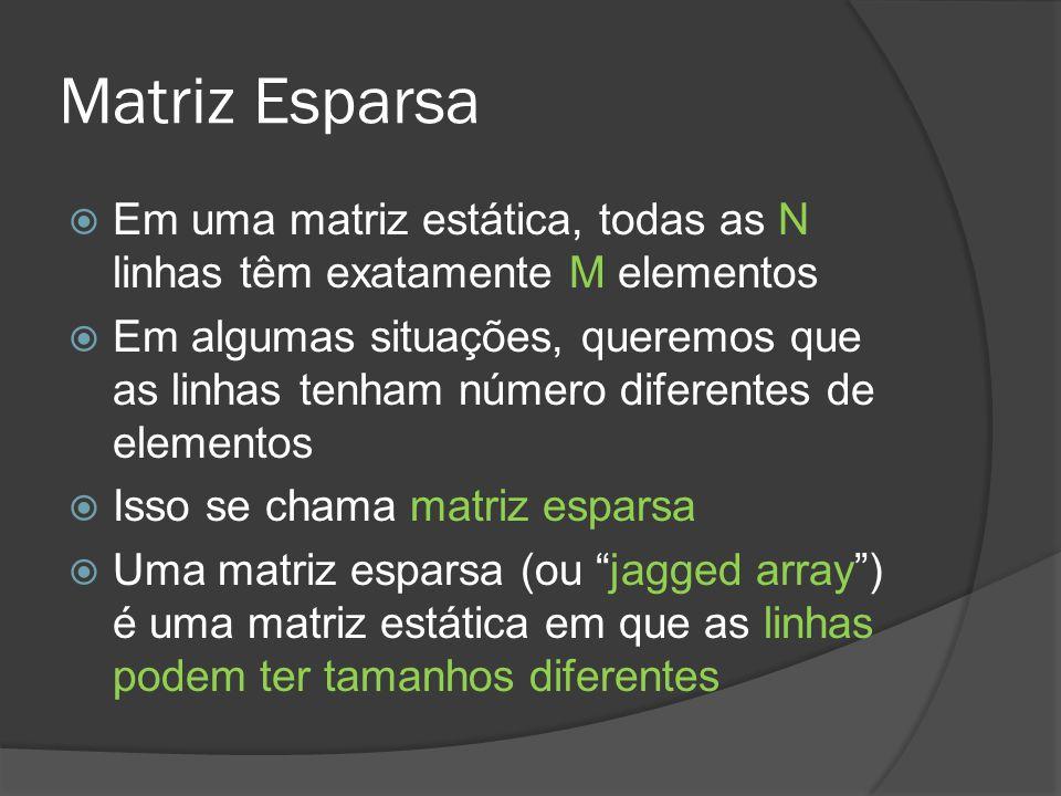 Matriz Esparsa Em uma matriz estática, todas as N linhas têm exatamente M elementos.