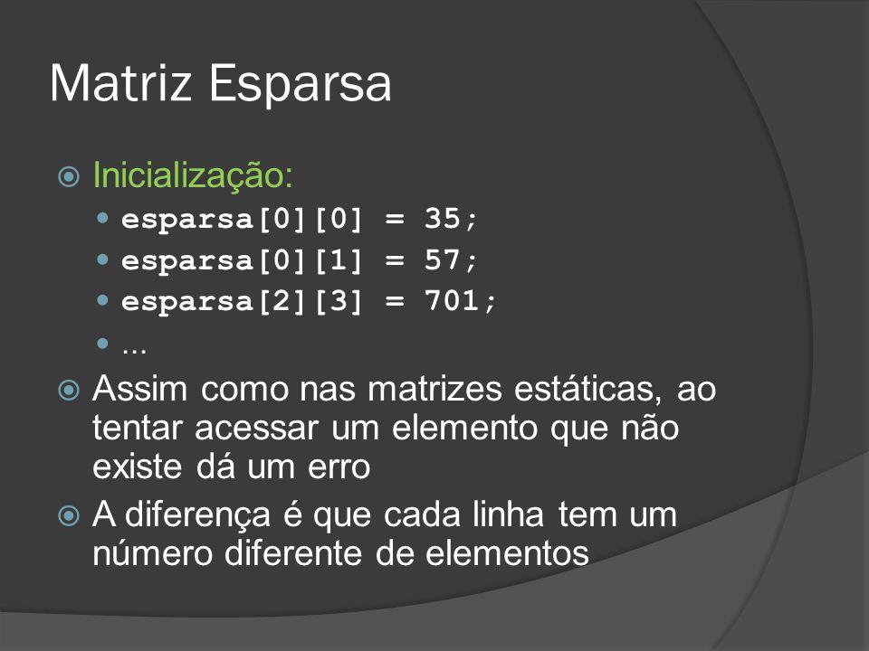 Matriz Esparsa Inicialização: