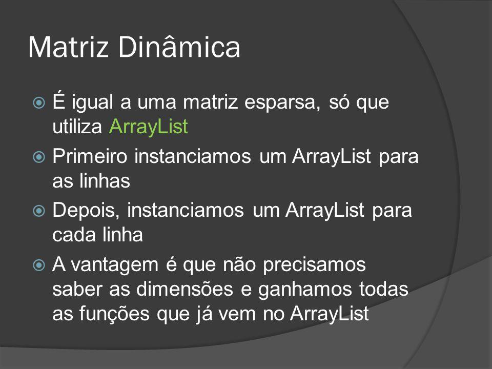 Matriz Dinâmica É igual a uma matriz esparsa, só que utiliza ArrayList