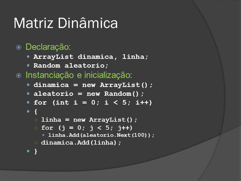 Matriz Dinâmica Declaração: Instanciação e inicialização: