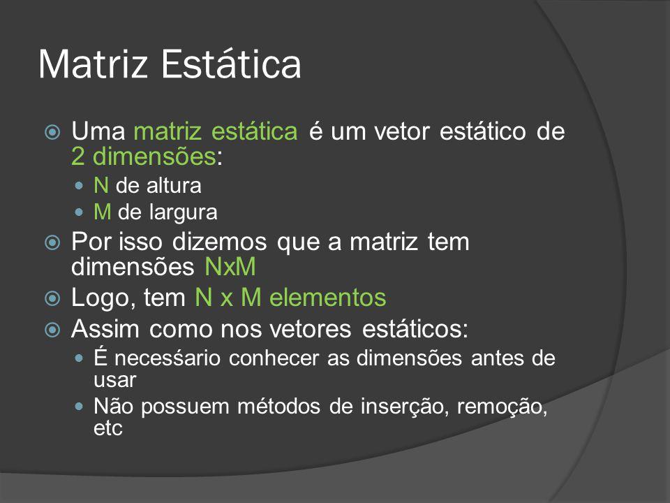Matriz Estática Uma matriz estática é um vetor estático de 2 dimensões: N de altura. M de largura.
