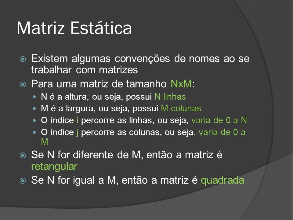 Matriz Estática Existem algumas convenções de nomes ao se trabalhar com matrizes. Para uma matriz de tamanho NxM:
