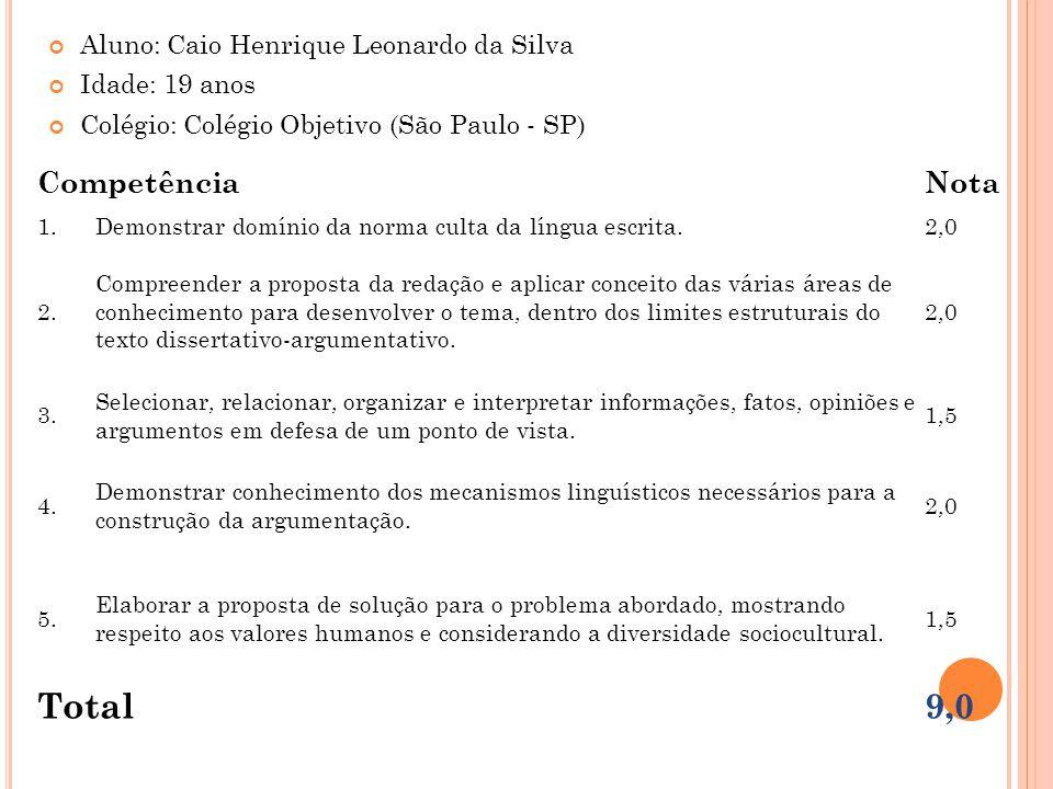 Total 9,0 Competência Nota Aluno: Caio Henrique Leonardo da Silva