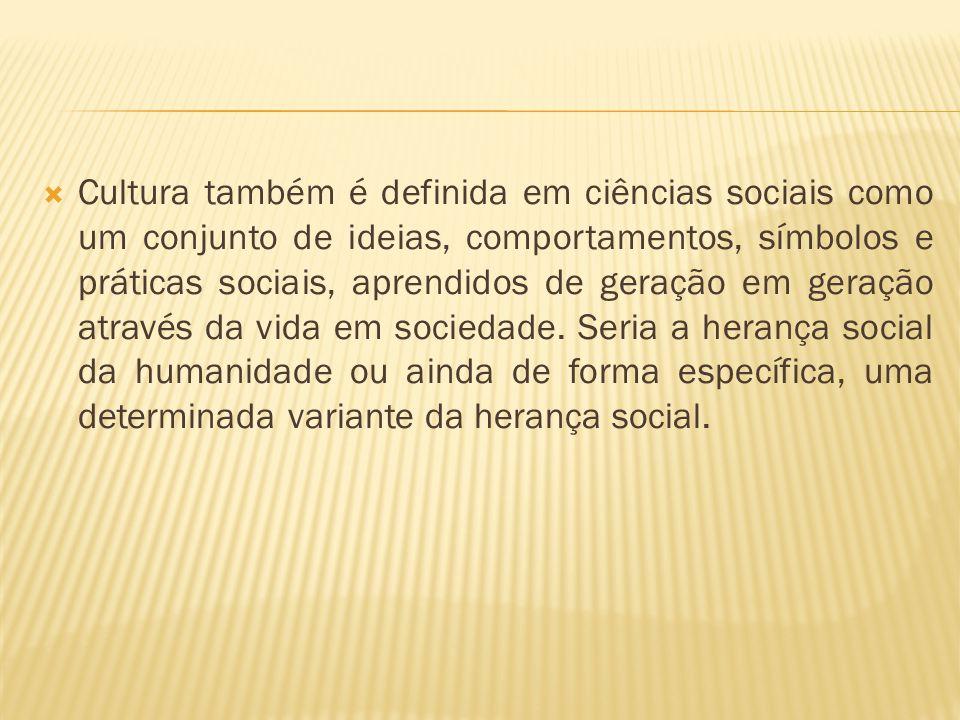 Cultura também é definida em ciências sociais como um conjunto de ideias, comportamentos, símbolos e práticas sociais, aprendidos de geração em geração através da vida em sociedade.