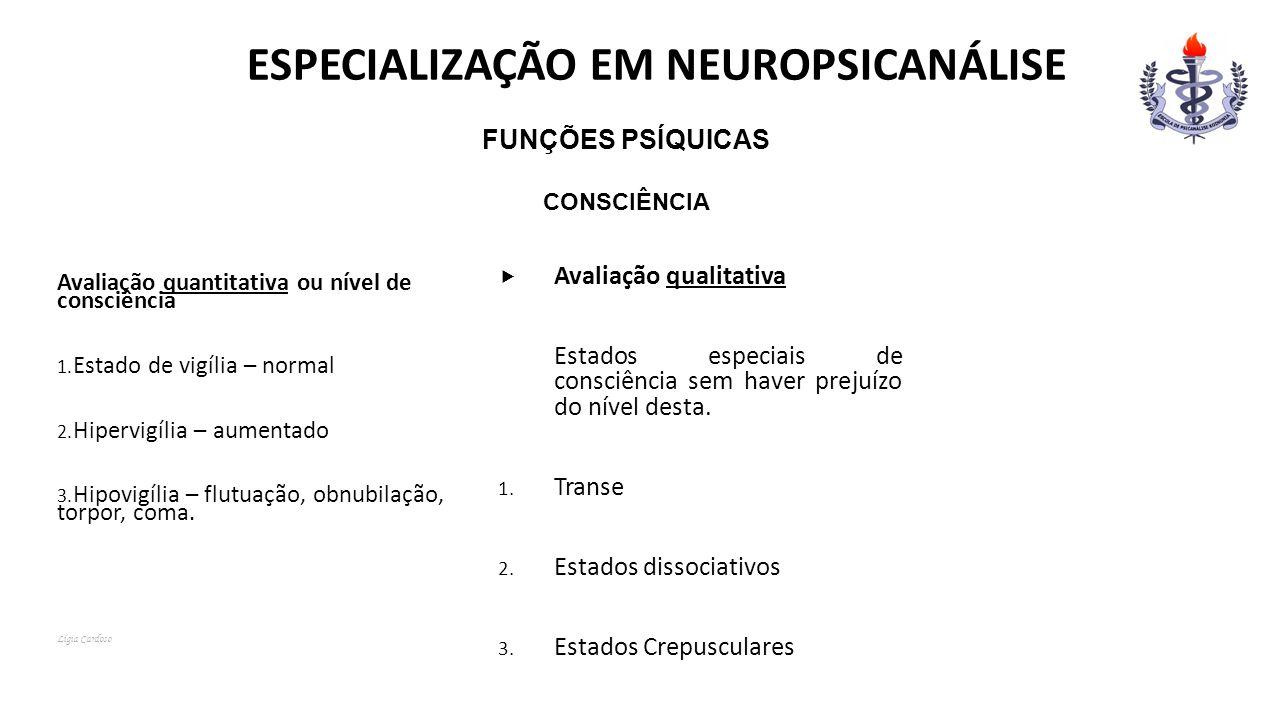 ESPECIALIZAÇÃO EM NEUROPSICANÁLISE Funções Psíquicas Consciência