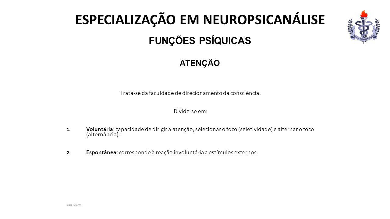 ESPECIALIZAÇÃO EM NEUROPSICANÁLISE Funções Psíquicas Atenção