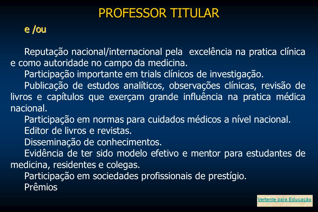 PROFESSOR TITULAR e /ou