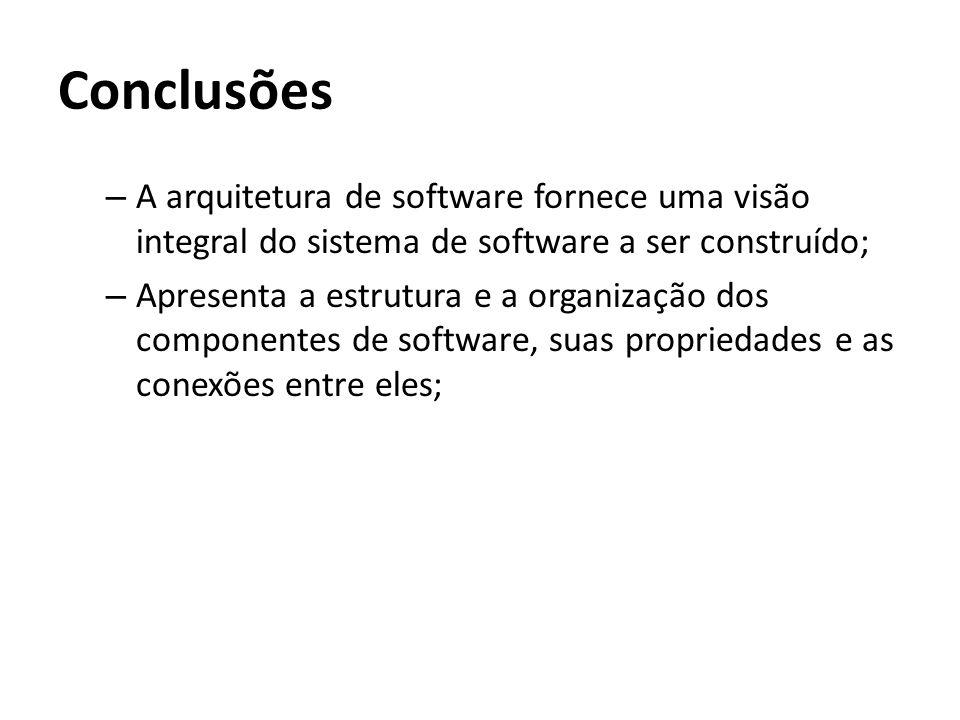 Conclusões A arquitetura de software fornece uma visão integral do sistema de software a ser construído;