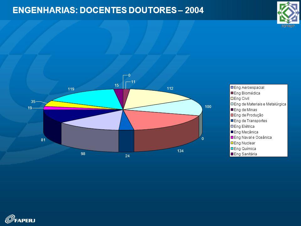 ENGENHARIAS: DOCENTES DOUTORES – 2004