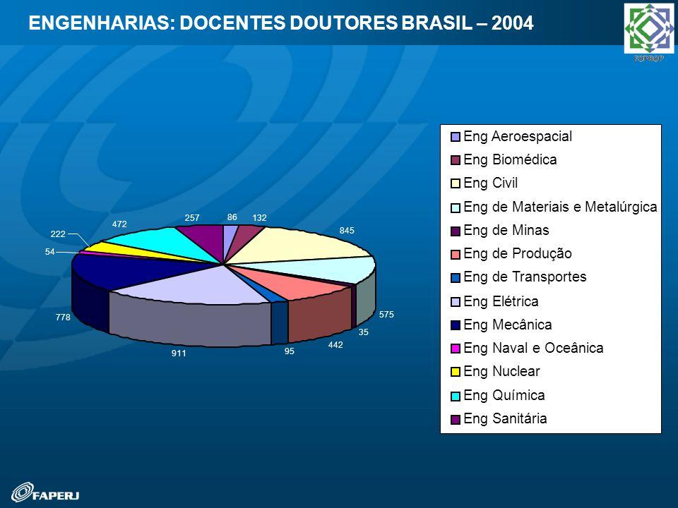 ENGENHARIAS: DOCENTES DOUTORES BRASIL – 2004