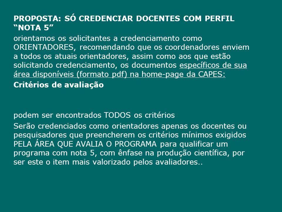 PROPOSTA: SÓ CREDENCIAR DOCENTES COM PERFIL NOTA 5