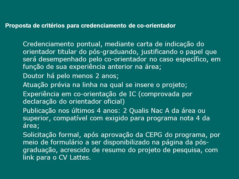 Proposta de critérios para credenciamento de co-orientador