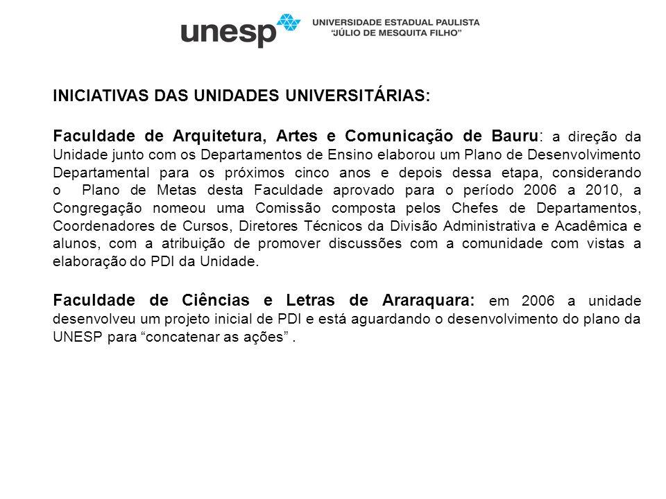 INICIATIVAS DAS UNIDADES UNIVERSITÁRIAS: