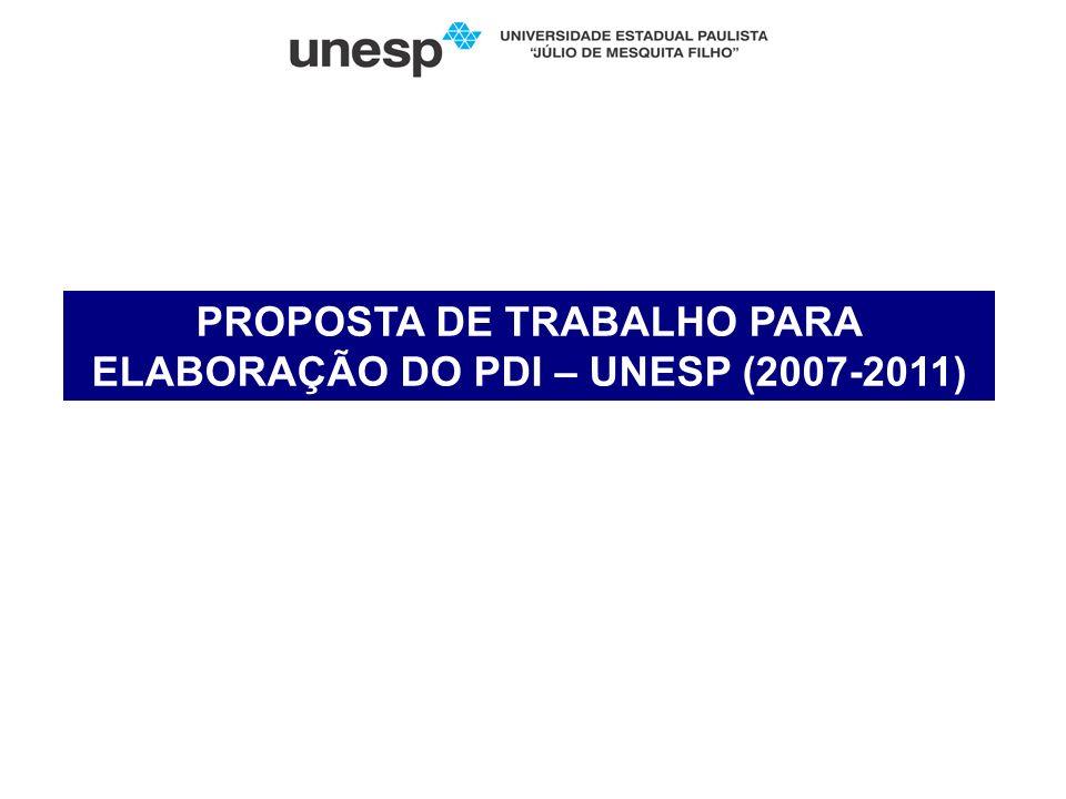 PROPOSTA DE TRABALHO PARA ELABORAÇÃO DO PDI – UNESP (2007-2011)