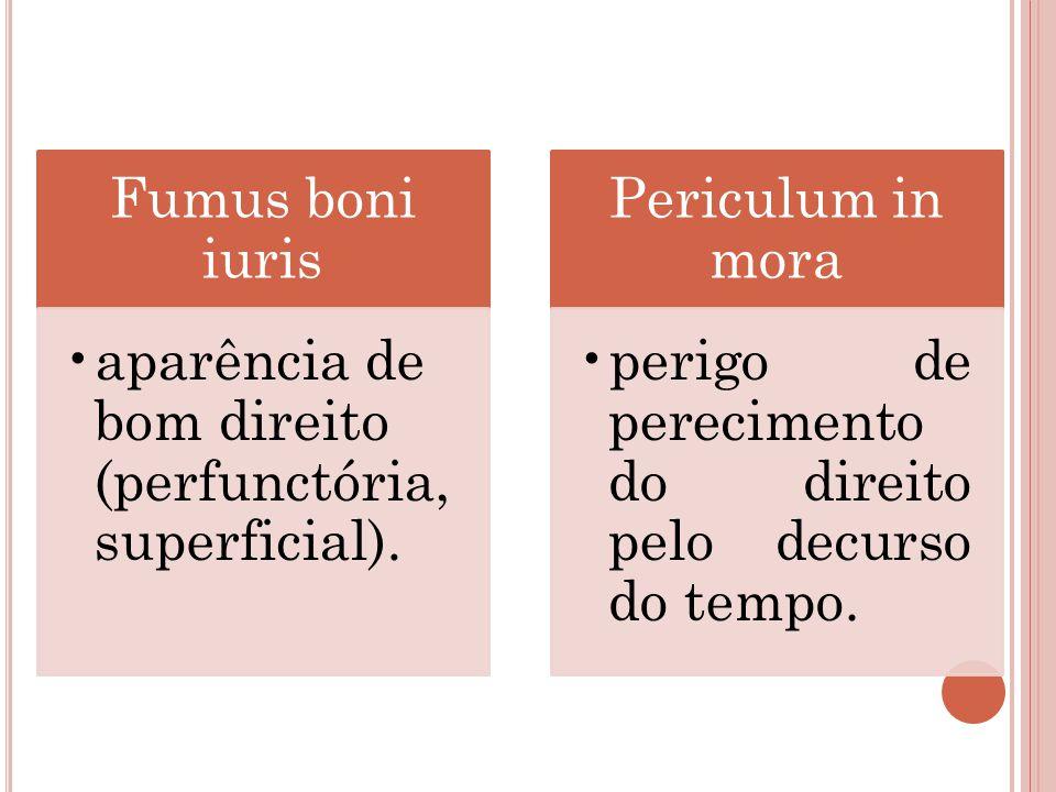 Fumus boni iuris aparência de bom direito (perfunctória, superficial).