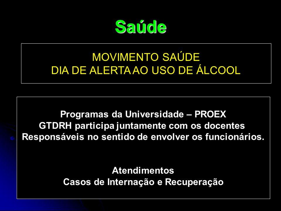 Saúde MOVIMENTO SAÚDE DIA DE ALERTA AO USO DE ÁLCOOL