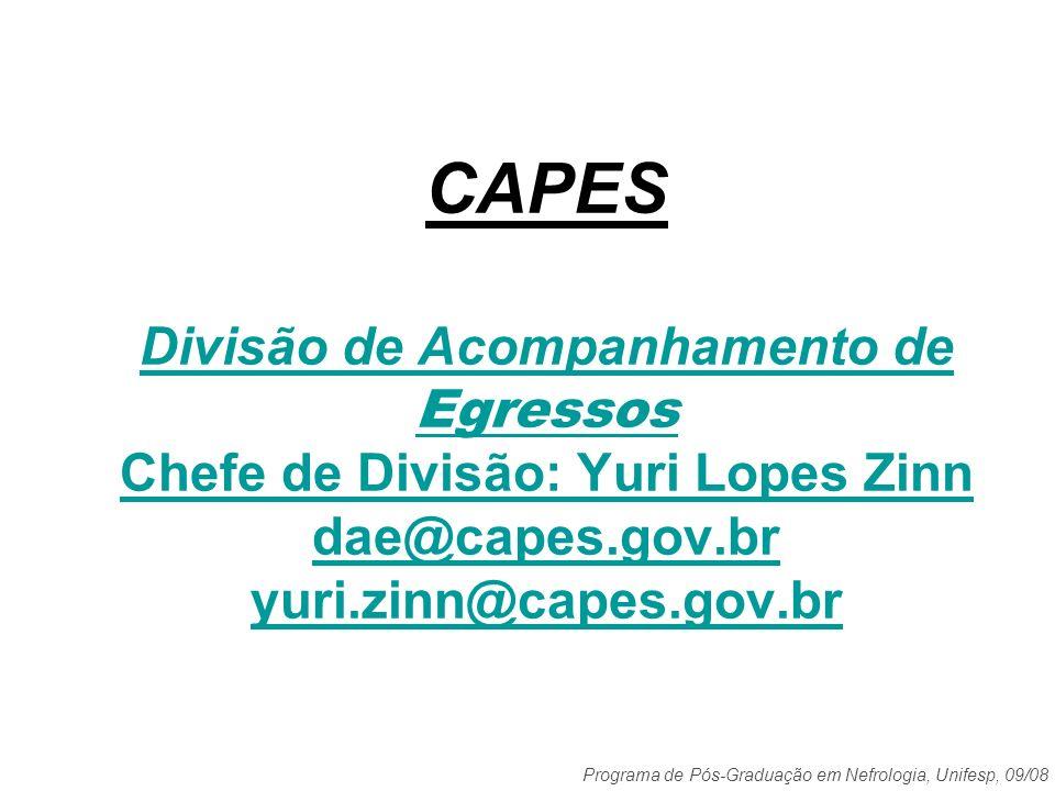 CAPES Divisão de Acompanhamento de Egressos Chefe de Divisão: Yuri Lopes Zinn dae@capes.gov.br yuri.zinn@capes.gov.br