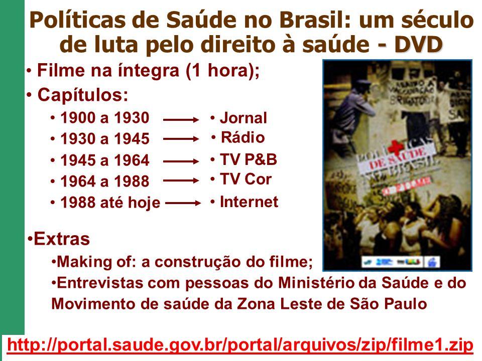 Políticas de Saúde no Brasil: um século de luta pelo direito à saúde - DVD