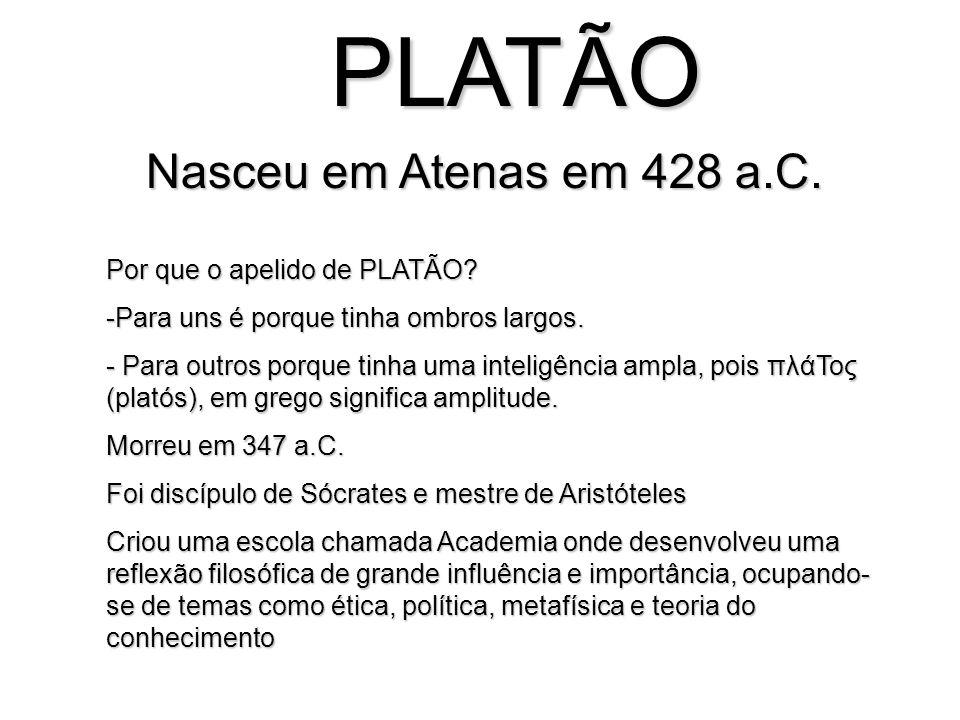 PLATÃO Nasceu em Atenas em 428 a.C. Por que o apelido de PLATÃO