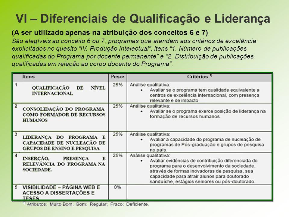 VI – Diferenciais de Qualificação e Liderança