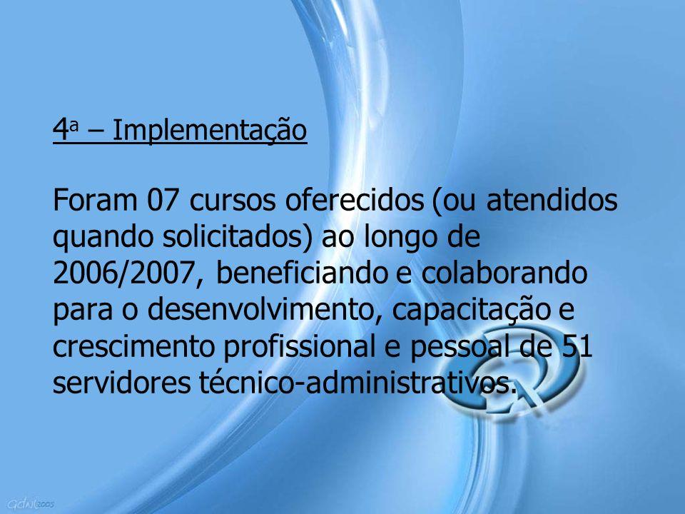 4a – Implementação Foram 07 cursos oferecidos (ou atendidos quando solicitados) ao longo de 2006/2007, beneficiando e colaborando para o desenvolvimento, capacitação e crescimento profissional e pessoal de 51 servidores técnico-administrativos.