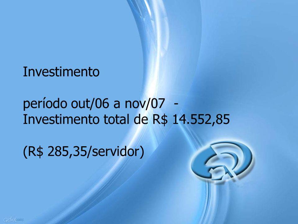 Investimento período out/06 a nov/07 - Investimento total de R$ 14