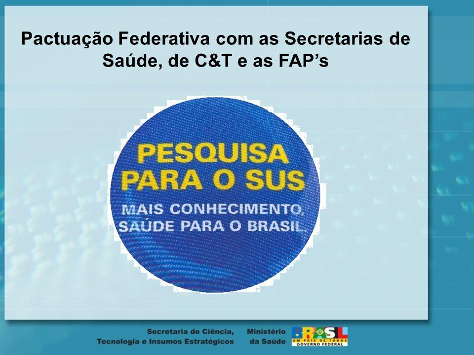 Pactuação Federativa com as Secretarias de Saúde, de C&T e as FAP's