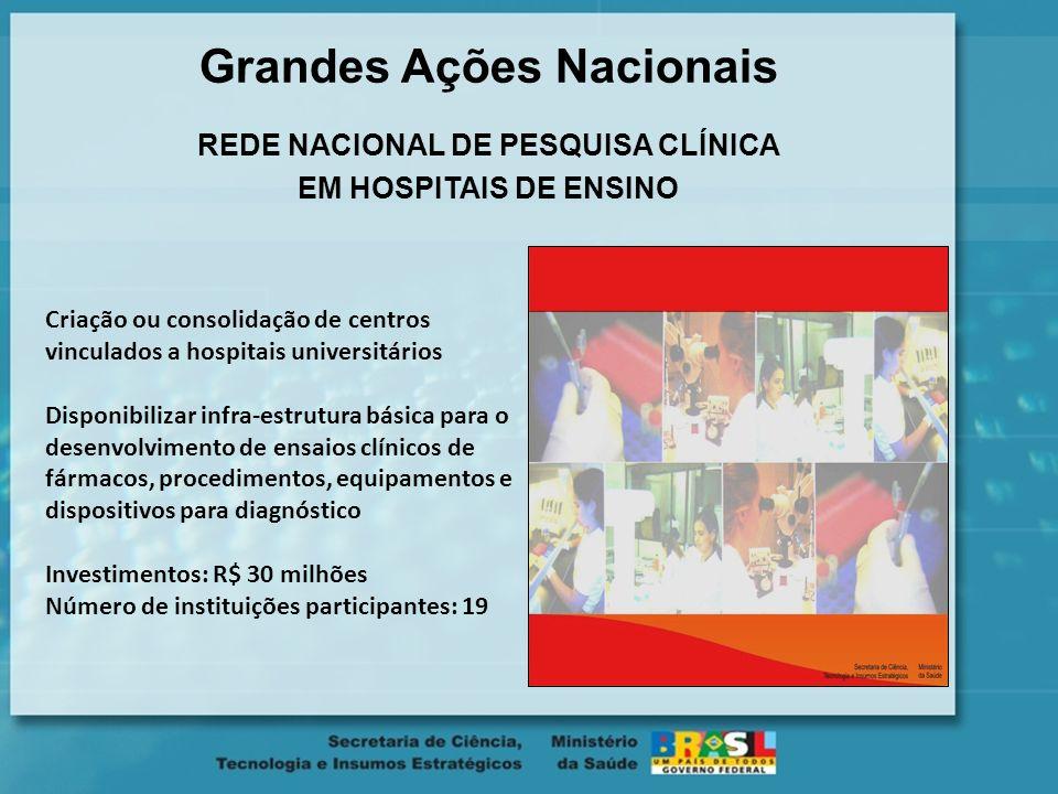 Grandes Ações Nacionais REDE NACIONAL DE PESQUISA CLÍNICA