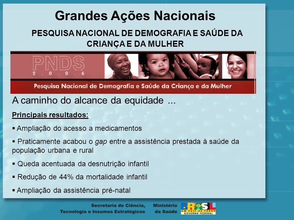 Grandes Ações Nacionais PESQUISA NACIONAL DE DEMOGRAFIA E SAÚDE DA CRIANÇA E DA MULHER