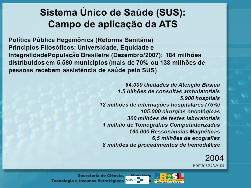 Sistema Único de Saúde (SUS): Campo de aplicação da ATS